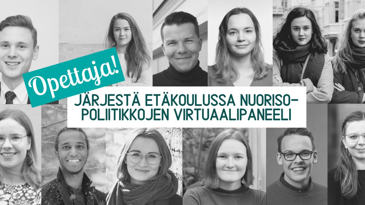 Poliittiset nuorisojärjestöt: opettaja, järjestä etäkoulussa nuorisopoliitikkojen virtuaalipaneeli!